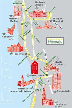 """Die Bus-Linie 111 der Hamburger Hochbahn AG fährt entlang der Elbe zwischen den Stadtteilen Altona und HafenCity. Sie erschließt die wachsenden Quartiere vom Fischereihafen über St. Pauli Fischmarkt, Hafenstraße, Landungsbrücken bis zum neuen Hamburger Stadtteil HafenCity. Aber nicht nur das: Die Busse passieren auf ihrer knapp halbstündigen Fahrt 16 Hamburger """"Hotspots"""" – und das zum HVV-Tarif"""