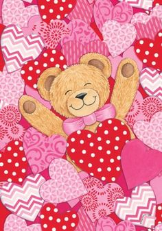 """Bear Hearts"" - Happy Valentines Day - Double Sided GARDEN Size Decorative Flag 12 X 18 Inches Custom Decor http://www.amazon.com/dp/B00HU7KIU8/ref=cm_sw_r_pi_dp_-T9Uub047X285"