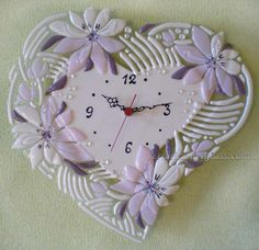 Fused glass wall clock TENDER HEART | Fused glass - fusing