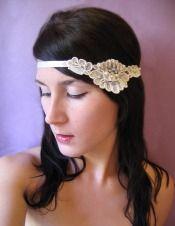 Ivory Lace and Pearls Ribbon Headband  $49.00