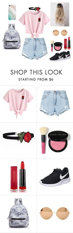 """""""clasic"""" by emmapatsaunders ❤ liked on Polyvore featuring WithChic, Nobody Denim, Bobbi Brown Cosmetics, Max Factor, NIKE, Street Level, Victoria Beckham and Gray Malin"""