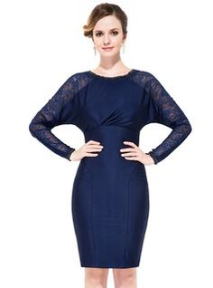 Cocktail Dresses - $136.99 - Sheath/Column Scoop Neck Knee-Length Lace Jersey Cocktail Dress With Ruffle Beading  http://www.dressfirst.com/Sheath-Column-Scoop-Neck-Knee-Length-Lace-Jersey-Cocktail-Dress-With-Ruffle-Beading-016050138-g50138