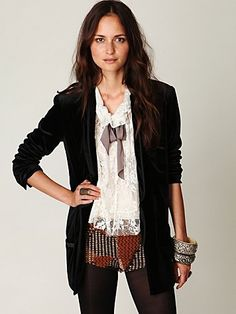 velvet blazer, printed shorts, lace tie top, black sheer tights=perfect fall look