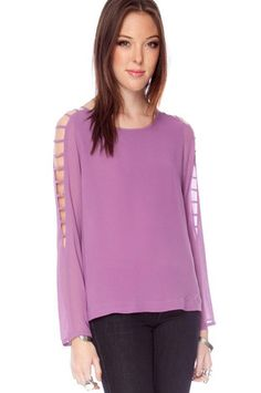 Chiffon Ladder Sleeve Top in Lavender