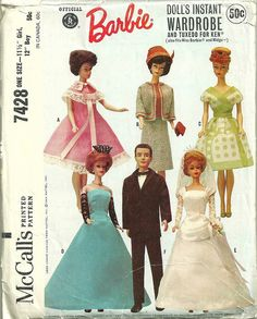 McCalls 7428 Barbie Doll Wardrobe and Tuxedo for Ken