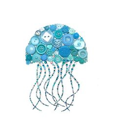 Homemade Cards Discover JELLY FISH DANCER ( Button Art Button Artwork buttons beach sea life ocean blues Swarovski cabochons diy ooak made in Beach Crafts, Fun Crafts, Diy And Crafts, Arts And Crafts, Ocean Crafts, Toys Quotes, Jewelry Crafts, Jewelry Art, Cuadros Diy
