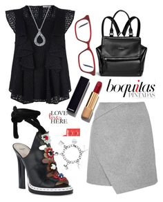 """""""black and grey"""" by grinevagh ❤ liked on Polyvore featuring Rebecca Minkoff, Givenchy, Fendi, Chanel, Harry Kotlar, Altruette and Victoria Beckham"""