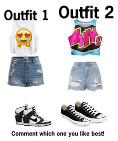 """""""1 or 2? Comment!"""" by invisibleshadow ❤ liked on Polyvore featuring moda, Pieces, NIKE, Topshop y Converse"""