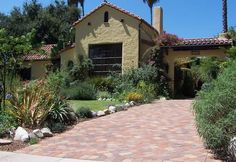 Spanish Front Yard, Driveway Paving Stones Mediterranean Landscaping Genesis Stoneworks Moorpark, CA