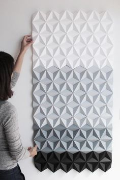 Grey Rectangle Wall Panel Mosaic Artwork Black and White Mosaic Artwork, Mosaic Wall Art, 3d Wall Art, Art 3d, White Rooms, White Walls, 3d Wandplatten, Origami Wall Art, Paper Wall Decor