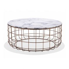 St. Clair Table - rose gold & white marble