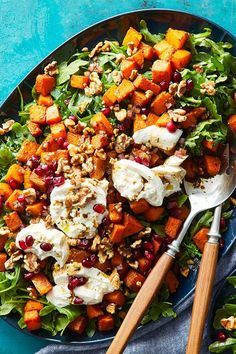 This salad recipe incorporates roasted butternut squash, creamy burrata cheese, walnuts and arugula to create the ultimate fall recipe. Whether you're making this butternut squash recipe as a quick and easy 30-minute weeknight dinner or packing it in a lunchbox as a school lunch for kids, it's a great choice for a fall recipe.#fallrecipes #saladrecipes #squashrecipes #butternutsquashrecipes Burrata Cheese, Cooking Light Recipes, Squash Salad, Squash Recipe, Roasted Butternut Squash, Bean Salad, School Lunch, Arugula, Healthy Salads