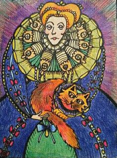 """Elizabethan Cat depicts Queen Elizabeth I and the cat, I imagined she might have owned. Total size Image slightly smaller for best quality print results. Printed on """" linen """" textured print paper. Elizabeth I, Artworks, Princess Zelda, Cats, Brown, Prints, Pattern, Fictional Characters, Image"""