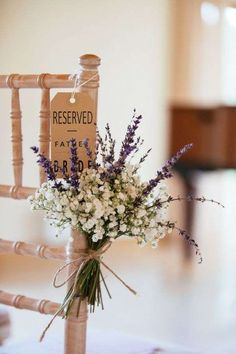 wedding ideas---baby breath and lavender wedding ceremony decorations, country barn weddings for spring or fall Purple Wedding Decorations, Wedding Centerpieces, Wedding Bouquets, Church Decorations, Gypsophila Wedding, Wedding Marquee Decoration, Wedding Dresses, Shabby Chic Centerpieces, Lavender Centerpieces
