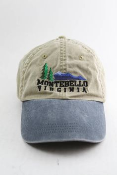 Montebello Virginia Two-Toned Dad Hat    Low Profile Tan and Blue Baseball  Cap with Adjustable Strapback    Virginia is for Lovers e92d46a69b57