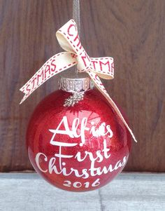 Personalised Christmas Bauble Name and Year by DropSconeDesigns