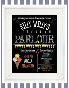 An Awesome Customizable and Downloadable Print from Our Etsy Sight. Perfect for your next Ice Cream Party