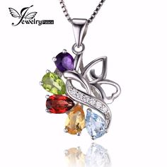 JewelryPalace Butterfly 2.4ct Genuine Amethyst Garnet Peridot Citrine Blue Topaz 925 Sterling silver Pendant Necklace 18 Inches pOjilHy3
