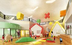 Un centro infantil que parece un juguete gigante Daycare Design, School Library Design, Kids Library, Classroom Design, Kindergarten Interior, Kindergarten Design, Kids Cafe, Kids Play Area, Indoor Playground