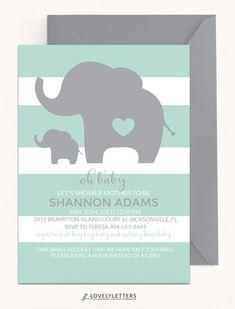 Elephant Baby Shower Invitation / Little Peanut Shower Invitation / Elephant Invitation / Elephant Shower /  Baby Peanut Invitation / Mint Elephant Shower designed by Lovely Letters Design  lovelylettersdesign.com