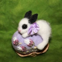 9142fd563 Needle Felted/ miniature sculpture/ hare/ bunny on egg/ rabbit/ Easter  /handmade gift