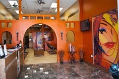This custom mural blends in perfectly to the salons interior!
