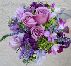 chuppah flowers | Green and Purple Wedding Flowers Bouquet