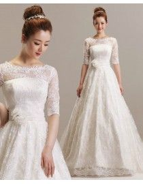 Bateau neckline lace 1/2 half sleeve a line court train wedding dresses with handmade flowers waistband TB-054