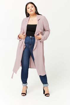 Product Name:Plus Size Crepe Duster Jacket, Category:CLEARANCE_ZERO, Price:27.9