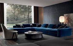 canapé italien en tissu bleu pétrole- Dune Sofa par Carlo Colombo pour Poliform