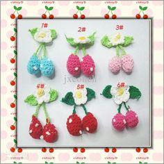 Best Crochet 3D Cherry Flower Brooch Accessory Craft/ Baby Headband Appliques/ Hand-made Knitting Flower Online with $0.34/Piece | DHgate