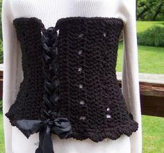 Winter Crocheted, Boned Corset~AnniesWearableArt-Mary Ann Kaelin pattern/piece