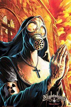 nun in gas mask Gas Mask Drawing, Gas Mask Art, Masks Art, Gas Masks, Art Fallout, Fallout Posters, Arte Horror, Horror Art, Art Apocalypse
