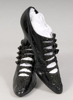 Edwardian Beaded Shoes  These black kid leather shoes were the height of fashion in the early 1900's.    A series of straps at the center front is lavishly hand beaded with black jet.