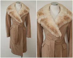 1960's vintage tan mink fur stole trim wool coat @ SweetLoveofMinecom at Etsy