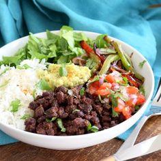 Easy Black Bean Roasted Veggie Burrito Bowl. V + GF