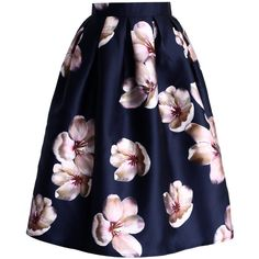 Chicwish Peach Blossom Midi Skirt in Navy featuring polyvore, fashion, clothing, skirts, bottoms, blue, box pleat midi skirt, flower skirt, mid calf skirt, blue midi skirt and navy skirt