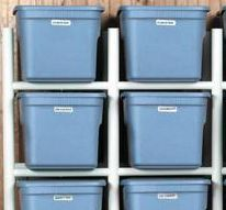 Storing large plastic storage bins is great until you have to get something from the bottom bin. By creating a customized series of shelves our PVC, that will never be a problem again.