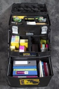 Work Station by Stanley Tools (Fat Max) organize and office, wrapping station, and other items.This may work for Inclusion Services. Small Business Organization, Scrapbook Organization, Office Organization, Teacher Cart, Teacher Supplies, Art Supplies, Office Supplies, Stanley Tools, Car Office