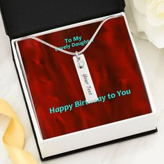 Happy Birthday To You-To My Lovely Daughter- Birthstone Name Necklace- – ShineOn Elegant Names, Birthday Gifts, Happy Birthday, Show Appreciation, Graduation Necklace, Name Necklace, Birthstones, First Love, To My Daughter