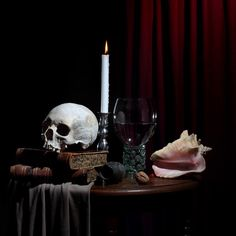 I'm a passionate photographer who has given a new twist to the traditional Dutch still life with flowers. In this project I've been practicing Vanitas still life. Dutch Still Life, Still Life Art, Memento Mori, Vanitas Paintings, Vanitas Vanitatum, Seashell Painting, Danse Macabre, Arte Horror, Witch Aesthetic