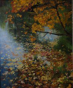 """Alena Savchenko """"Autumns leaves in Gatchina"""" Canvas, oil. 60x50 cm. 2013."""
