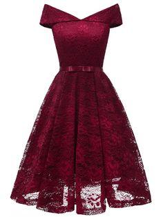LaceShe Damen Vintage Off Shoulder Spitzenkleid – Cocktail dress Grad Dresses, Homecoming Dresses, Dress Outfits, Fashion Dresses, Dresses Dresses, Dresses Online, Casual Dresses, Woman Dresses, Fashion Poses