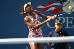 Venus Williams (USA) in action against Bethanie Mattek-Sands (USA)  in the first round. - Philip Hall/USTA