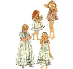 1980s Girls Nightgown Pajamas Robe - Simplicity 5562 Vintage Pattern - Size 6