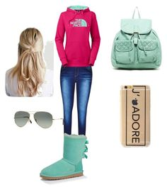"""""""Carry On"""" by lxvenaee on Polyvore featuring City Chic, The North Face, UGG Australia, T-shirt & Jeans and Ray-Ban"""