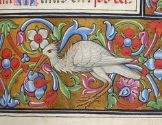 Book of Hours, M.256 fol. 176r - Margins decorated with blocks of floreate ornament on gold ground, inhabited by stork or heron in lower margin.