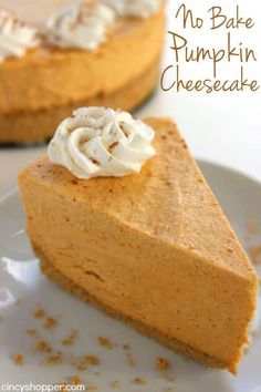 Bake Pumpkin Cheesecake -Super easy fall and Holiday dessert. Pumpkin No Bake Pumpkin Cheesecake -Super easy fall and Holiday dessert. No Bake Pumpkin Cheesecake -Super easy fall and Holiday dessert. Köstliche Desserts, Holiday Baking, Christmas Desserts, Delicious Desserts, Dessert Recipes, Holiday Pies, Birthday Desserts, Fall Baking, Christmas Recipes