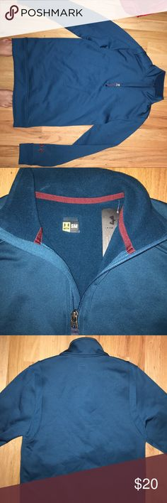 Mens small under armour cold gear quarter zip New with tags. Great for cold weather. Mens small but will fit women. Blue/green color. Under Armour Tops Sweatshirts & Hoodies