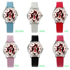 Girls Kids Children Watches Rhinestone Flower Leather strap Wristwatches Student Cartoon Quartz Watch montre relogio